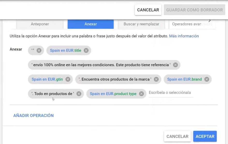 Anexar atributos y textos que amplíen las descripciones google shopping existentes