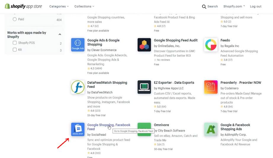 Feed de Shopify - Selección de apps de google shopping