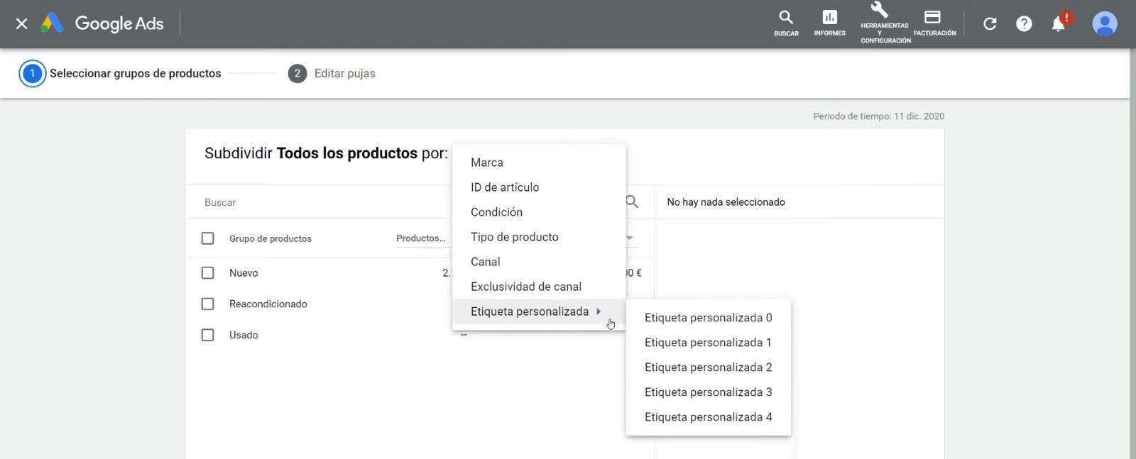 Segmentación en Google Shopping