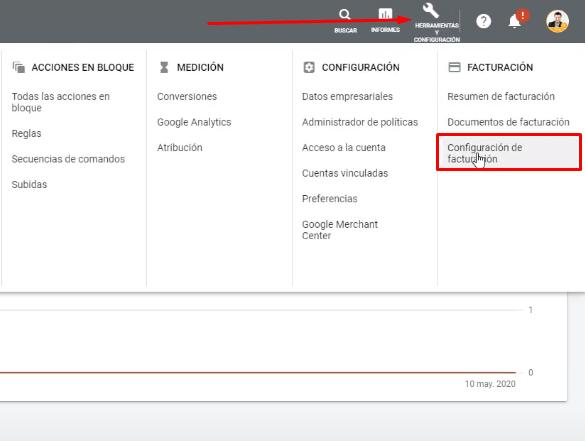 Configuración y facturación Google Ads