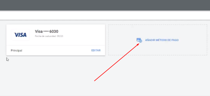 Introducir método de pago Google Ads