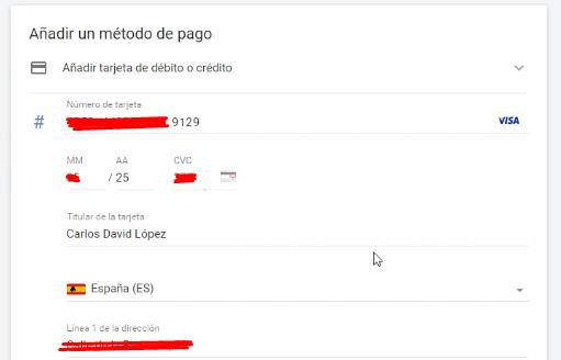 Datos Tarjeta o cuenta bancaria Google Ads