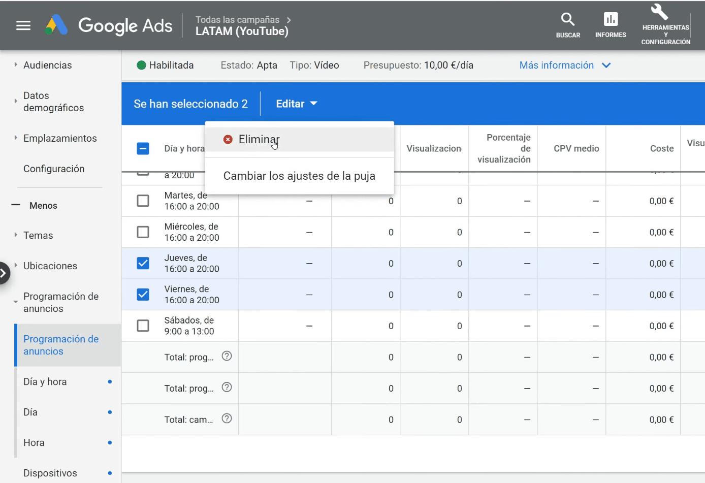 5 Quitar - Programación de Anuncios Google Ads en 5 Pasos