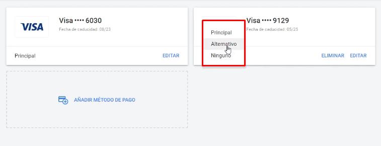 Método pago alternativo Google Ads