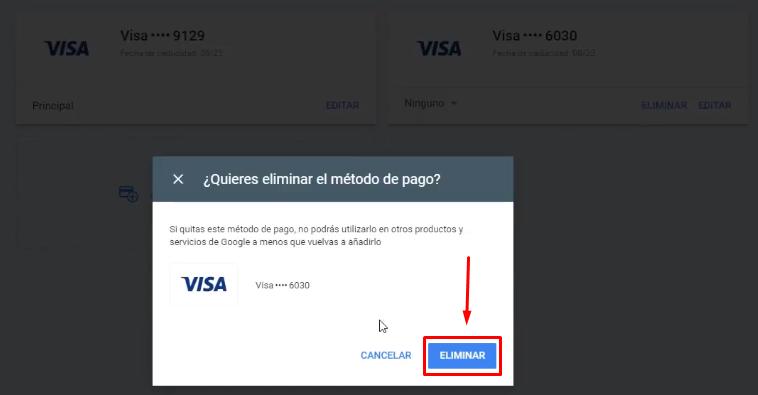 Eliminar método de pago Google Ads