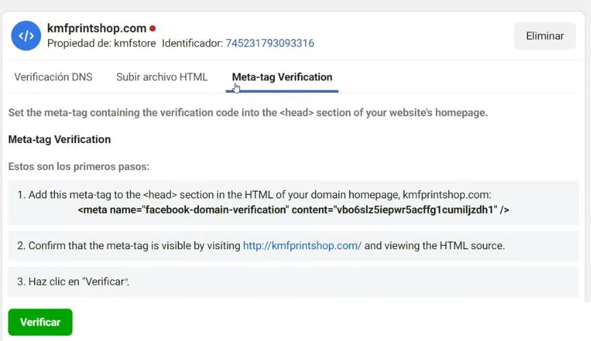 Verificación del dominio