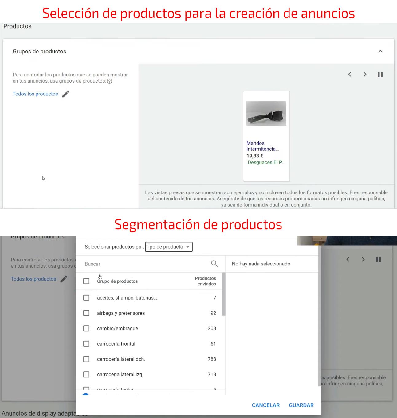 Creación de grupo de anuncios - Selección de productos
