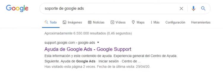 Buscar el acceso al soporte Google Ads