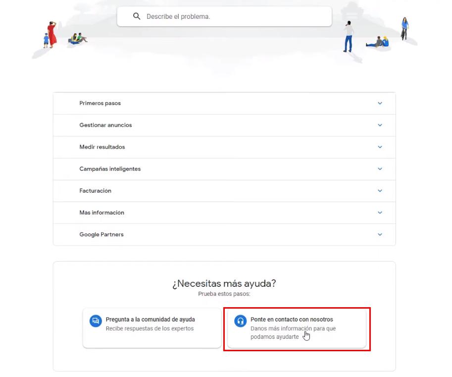 Menú de ayuda genérico del soporte Google Ads