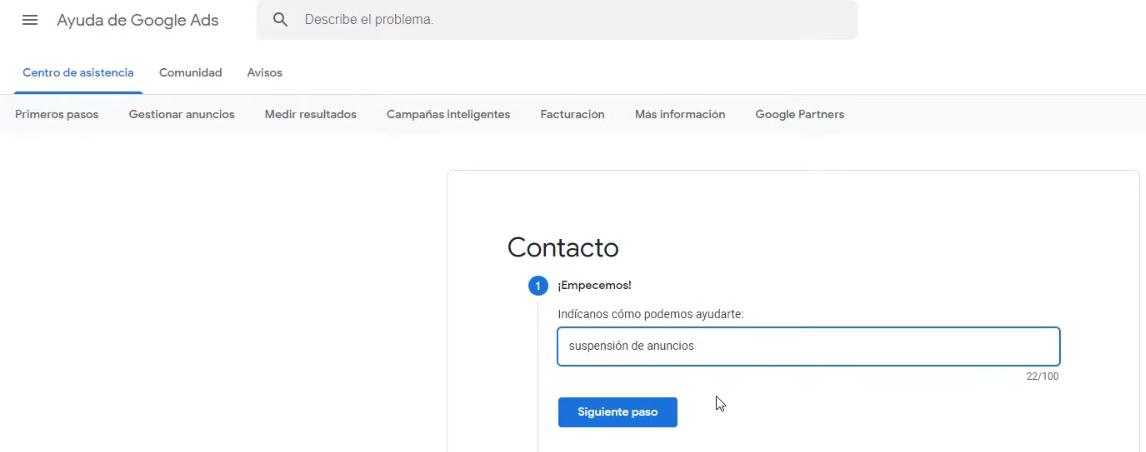 Rellenar formulario de contacto
