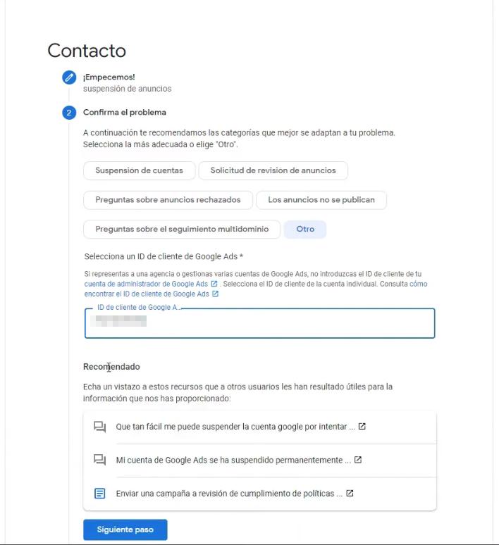 Completar más datos del formulario