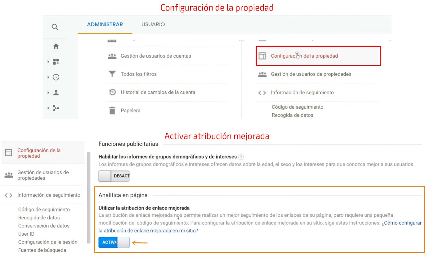 Aspectos finales de la configuración - atribución de enlace mejorada