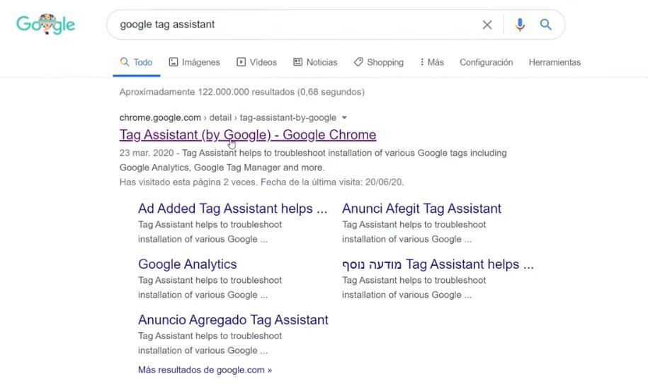 Búsqueda de la extensión en Google