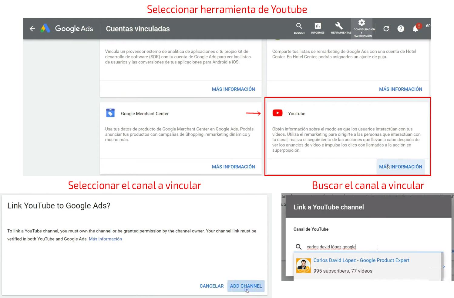 Selección del canal de YouTube a vincular Google Ads