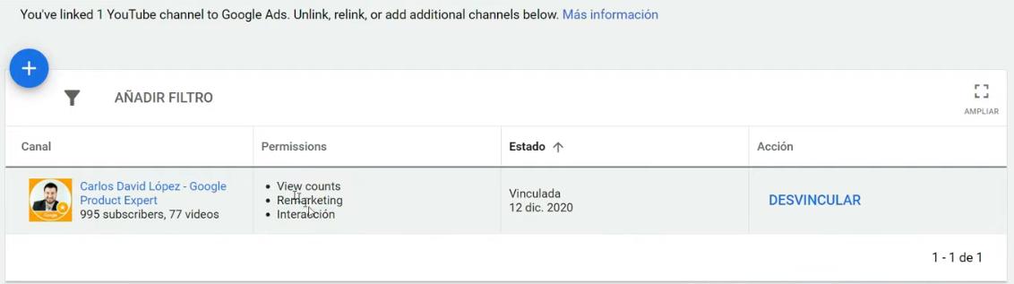 Verificar la vinculación en Google Ads