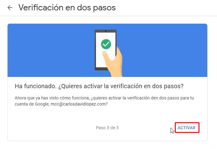 Activar verificación con SMS