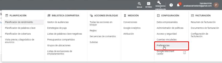 Preferencias de Cuenta Google Ads