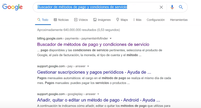 Buscador métodos de pago Google Ads