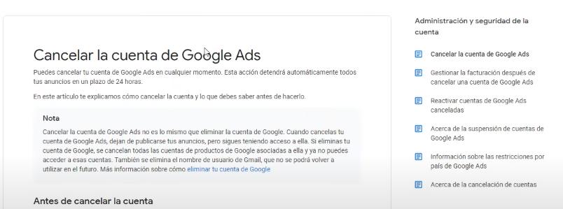 Información eliminar cuenta de Google Ads