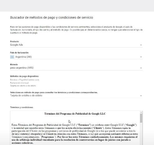 Formas de pago Google Ads Argentina
