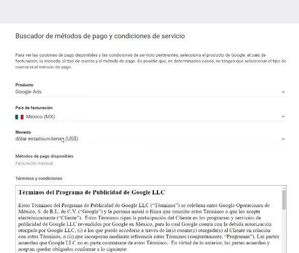 Formas de pago Google Ads México con dólares