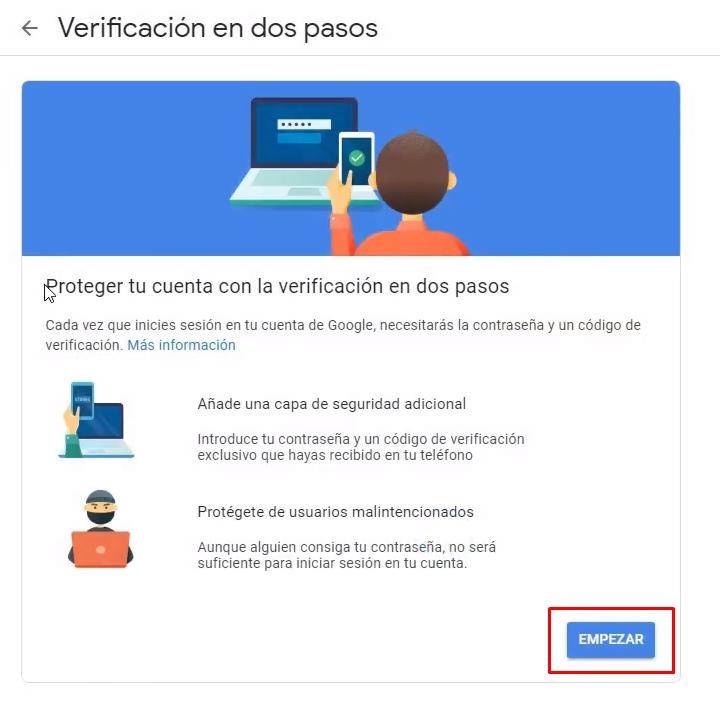 Empezar verificación en dos pasos