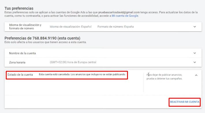 Reactivar cuenta Google Ads