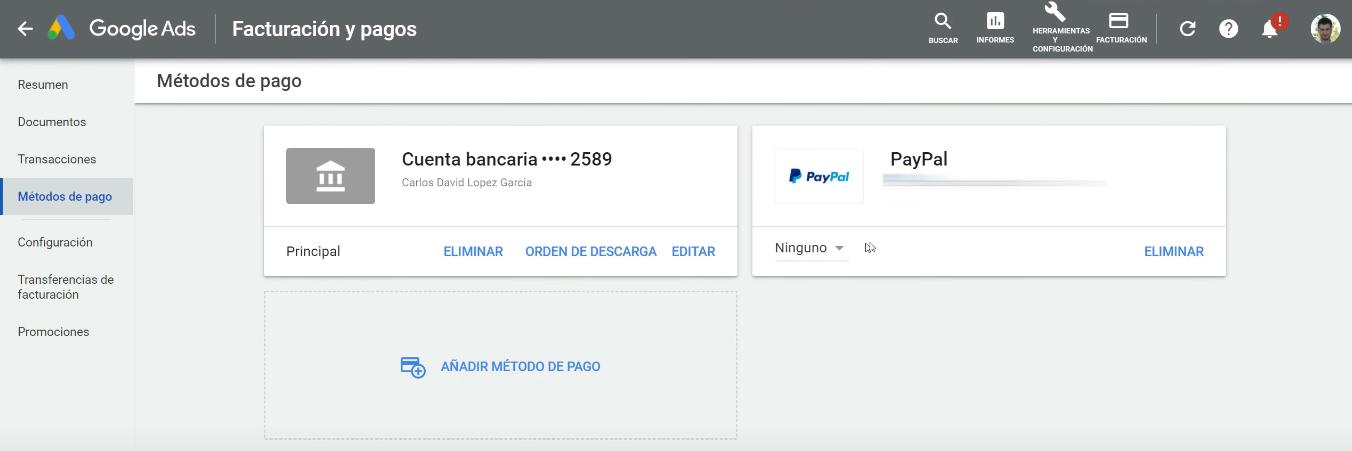 PayPal añadido en cuenta Google Ads