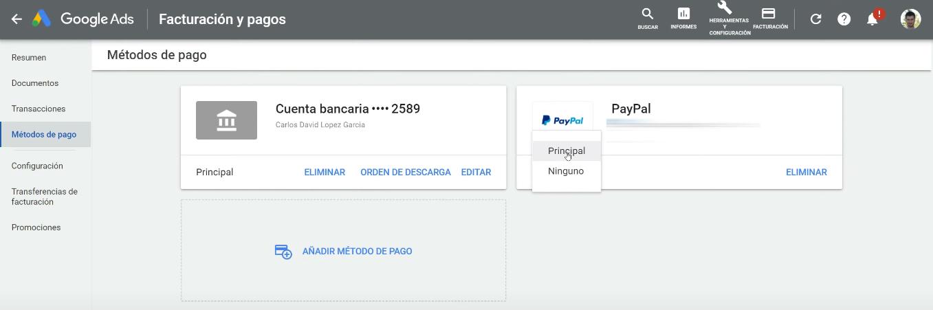 PayPal método de pago principal