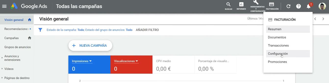 Configuración PayPal Google Ads