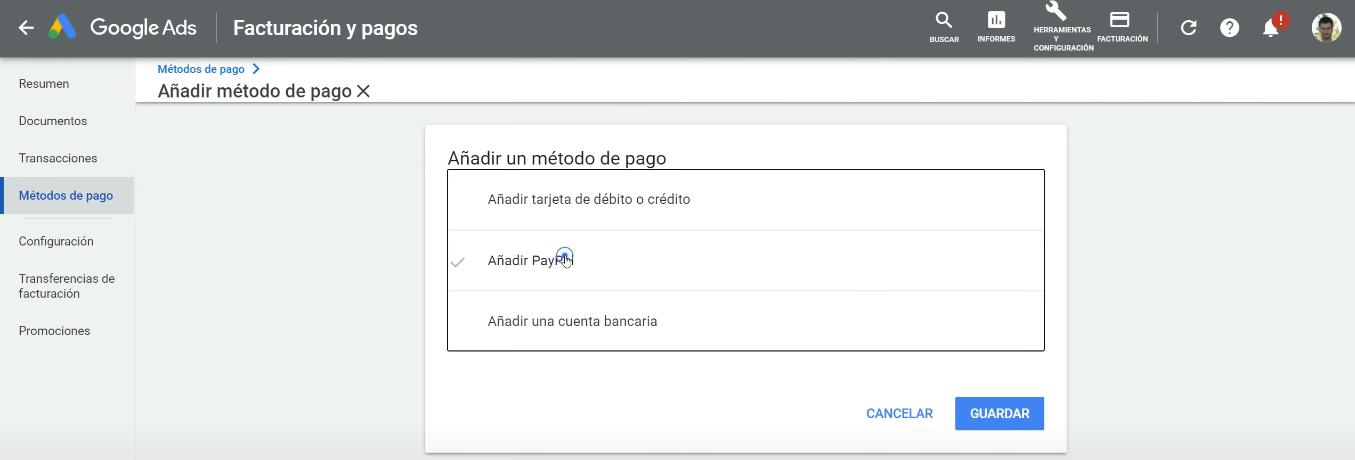 Cómo Configurar PayPal en Google Ads