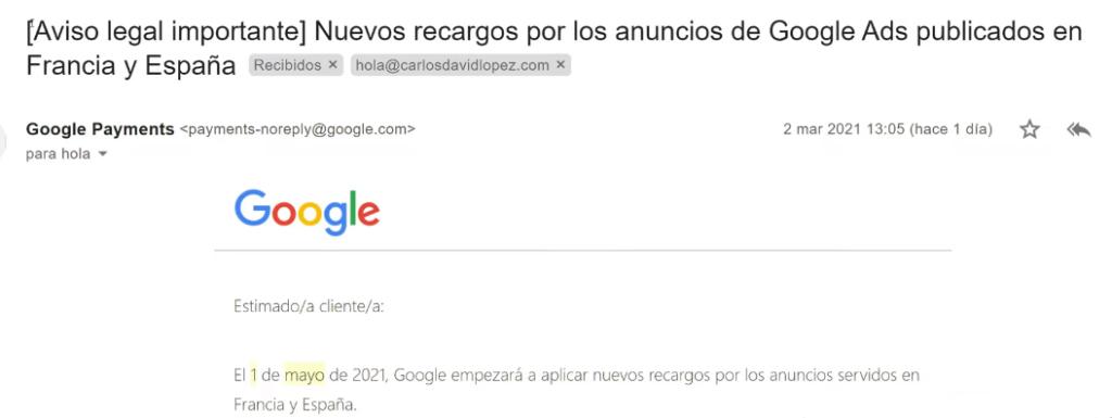 Aviso legal importante Nuevos recargos por los anuncios de Google Ads