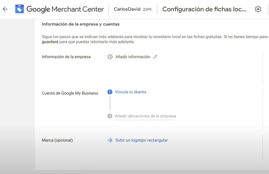 Vincular cuenta Google Merchant Center y Google My Business