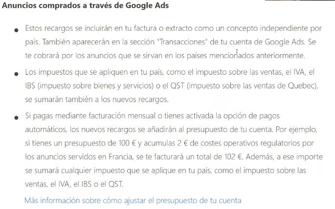 Impuesto Anuncios comprados en Google Ads