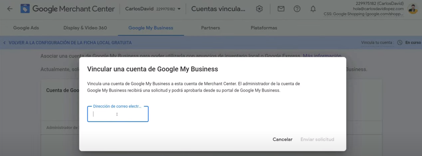 Correo cuenta Shopping Google My Business