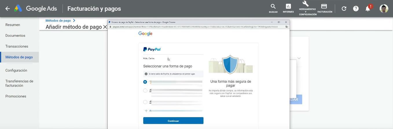 Seleccionar método de pago PayPal