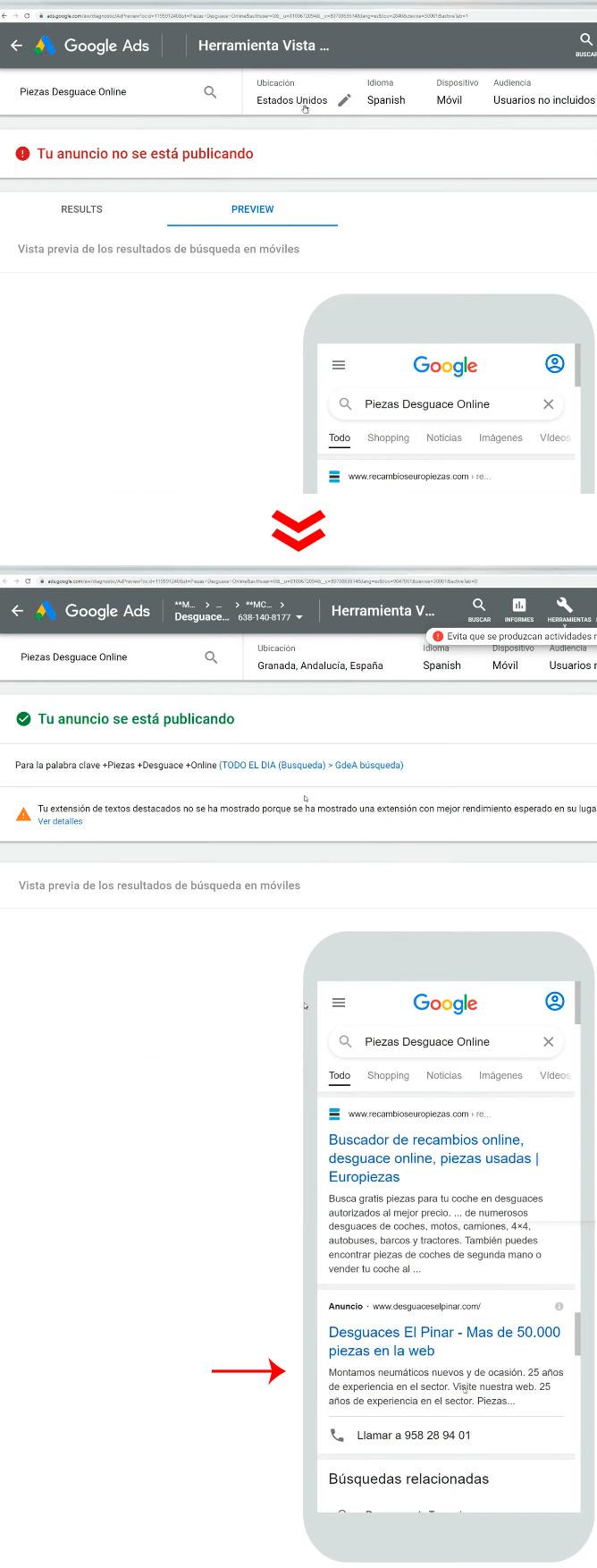 Visibilidad anuncios Google Ads
